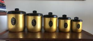 MODEL MAID by JASON Vintage/Retro Gold Coloured Anodised 5 Canister Set
