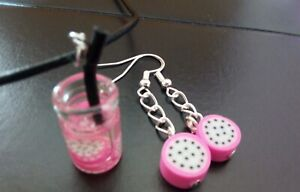 A Fun Set Polymer Clay Pink Papaya Earrings and Glass Drink Necklace SUMMER FUN