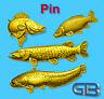 ANSTECKNADEL PIN, Fisch Zander Hecht Wels Karpfen aus Zinn, Gold Silber Bronze