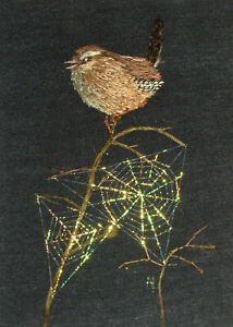 """ACEO Original """"Wren and the Webs"""" Silk Hand Embroidery - A Lobban"""