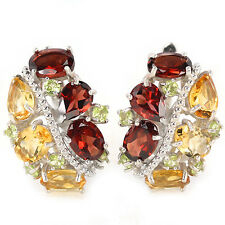 NATURAL AAA MULTI COLOR GARNET CITRINE & PERIDOT STERLING 925 SILVER EARRING
