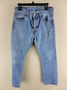 Men's Blue Levi's 501 Button Fly Straight Cotton Denim Jeans Tag 30x30 (30x28)