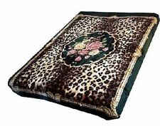 Solaron Korean Blanket throw Thick Mink Plush queen size Leopard Flower Licensed