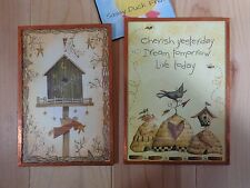 WALL PLAQUES Set of 2 Copper Metal Frame Birdhouse Beehives Cherish Dream Live
