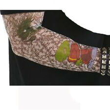 Faux tatouage tattoo sur 1 manche motifs noirs et vert variés biker 7980dragonv