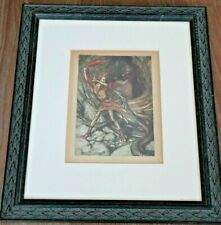 ARTHUR RACKHAM TWO ANTIQUE FRAMED AND MOUNTED FIRST EDITION PRINTS c1910
