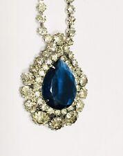 Geoffrey Beene Kramer Necklace Bride Formal Blue Teardrop Pendant Estate Jewelry