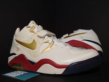 2007 Nike Air Force 180 Premium AN BARKLEY FINISHLINE OLYMPIC WHITE RED GOLD 12