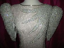 Vintage JUDITH ANN sz M Bead Sequin Pearl Rhinestone Formal Gala Dress Silk Drag