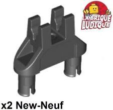 Lego technic - 2x Pin Double Double Triangle 2 clips 1x3 noir/black 19159 NEUF