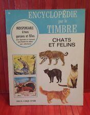 vintage 1968 Encyclopédie par le Timbre.  # 16 .  Chats et Felin . sticker book