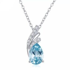 Natural Gemstone Sky Blue Topaz 1.72 CT Pendant 925 SSilver Necklace, 45 CM