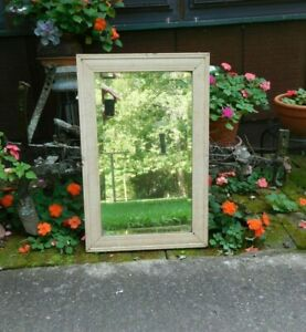 Antique Beveled Glass Mirror Oak Wood Frame Primitive Chippy Paint Distressed