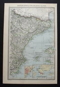 Antique Map: Eastern Spain & Balearic Islands, by George Philip, 1907, Colour