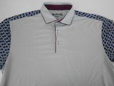 G Mac Apparel Mens Lightweight Gray Blue Geometric Polo Golf Shirt XX-Large