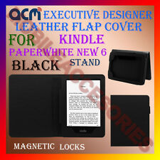 ACM-DESIGNER EXECUTIVE LEATHER FLIP CASE for KINDLE PAPERWHITE NEW 6 COVER-BLACK