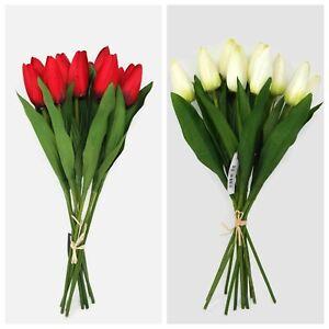 12 Head Artificial Tulip Bundle x 40cm - Cream or Red - Spring Flower