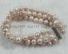 AA 3 Rows 7-8mm Genuine Natural Purple Freshwater Real Pearl Bracelets 7.5-8""