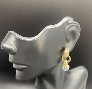 Brighton Celestial Blue Crystal Silver & Gold Dangle Earrings