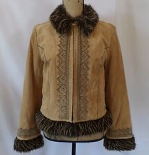 Weatherproof Medium Lined Embroidered Imitation Fur Zip Suede Leather Jacket
