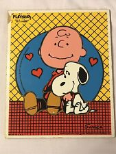 VNTG Playskool Peanuts Snoopy Charlie Brown Tray puzzle Vivid Art Print Cartoon