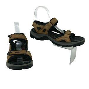 Ecco Golf Sandals Women's Size 40 Brown Hook & Loop Slip On Spikeless Receptor