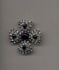 Black Clear Huge Maltese Prong Set pin Vintage