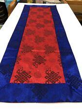 Tibetan Red Endless Knot silk brocade table runner/ shrine cover /altar cloth