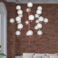 lampadario design Copernico ferro ottone 24 luci sfere vetro soffiato bianco