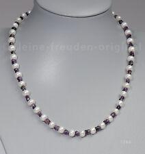Unikat Halskette Collier aus Perlen und Amethyst Geschenk 1764