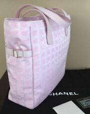 Chanel Travel Line Pink Canvas Tote Bag with Leather Side Belts and Handles NEW