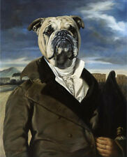 "BULLDOG ENGLISH BRITISH DRESSED DOG COMIC ART PRINT - ""The Grand Tour"""