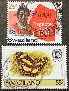 Swaziland1967-King Sobhuza II- MiNr.SZ126 / 1987-Schmetterling- MiNr.SZ523 gest.