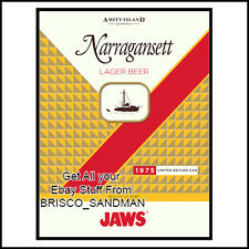 "Fridge Fun Refrigerator Magnet JAWS MOVIE COLOR ART V: B ""NARRAGANSETT"" Retro"