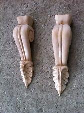 x2 Medium Decorative Carved Corbel Wood Raw - S2 - H23cm x W5.2cm x D5.7cm
