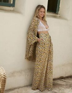 Free People Pant Wake Up Wide Sheer Chiffon Leopard Tie Waist Wheat Taupe S NWT