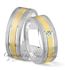 2 Silber Verlobungsringe Trauringe GOLD PLATIERT J101-1