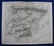 Original antique map, SPAIN & PORTUGAL, IBERIAN PENINSULA, Duvotenay, 1859