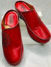 L'Artiste Ladies Spring Step Vanessa  Leather Slip-on Red Mule Size 6.5 EU 37