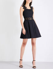 NWT Ted Baker Women's MONAA Lace detail textured dress black Sz 4 (US 10) $315
