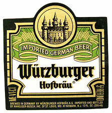 Wurzburger Hofbrau WURZBURGER - IMPORTED GERMAN BEER by Anh-Busch, NJ 12oz