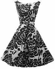 New Retro 1940's WW2 Wartime Black White Floral Swing Tea Dress UK 10