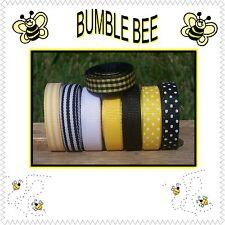 "40 yds 3/8"" Loopy Bows Buzz Bumble Bee Yellow Black White Grosgrain Ribbon"