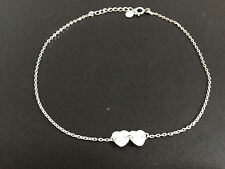Hearts Charms Chain Anklet Women Girls Genuine 925 Sterling Silver & 2 Love