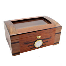 High-end Cedar Lined Glass Cigar Humidor With Lock Hygrometer Humidifier COHIBA