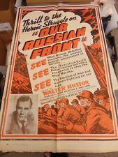 Walter Huston Our Russian Front Propaganda Original 27x41 One-Sheet Poster N3028