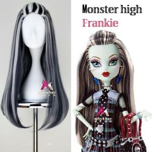 Monster High Frankie Stein Girls Wig Black White Long Straight Hair Cosplay Prop