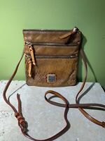 Dooney & Bourke Brown Tan Snake Leather Print Triple Zip Crossbody