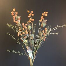 Orange Artificial Berry & Eucalyptus Bunch, Realistic Faux Wild Flower Greenery