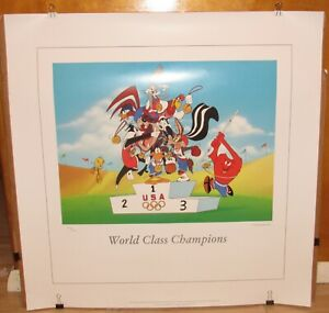 """Looney Tunes Warner Bros. """"World Class Champions"""" Limited Ed Lithograph w/ COA"""